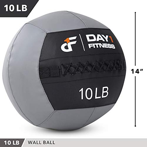 Day 1 Fitness Soft Wall Medicine Ball 10 Pounds - for Exercise, Physical Therapy, Rehab, Core Strength, Large Durable Balls for TRX, Floor Exercises, Stretching