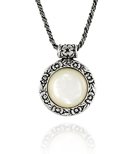 Antique Style Mother of Pearl Pendant Round Floral Design 925 Sterling Silver Gemstone Necklace, 20