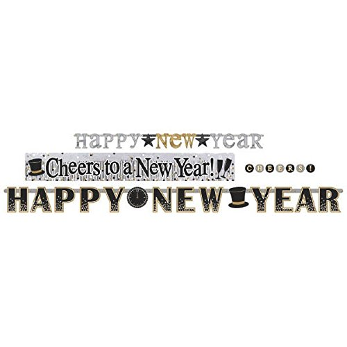 amscan Happy New Year Letter Banners, Multipack, 4