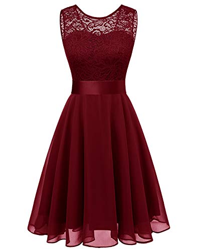 BeryLove Women's Short Floral Lace Bridesmaid Dress A-line Swing Party DressBLP7005DarkRedXL