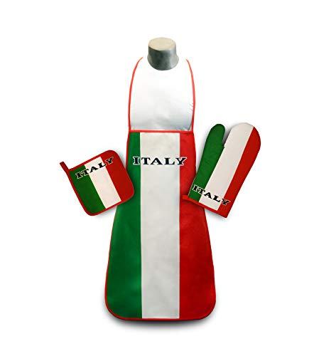 Italy Kitchen & BBQ Set *New* with Apron, Oven-mitt, Pot-holder Italian Flag Italia