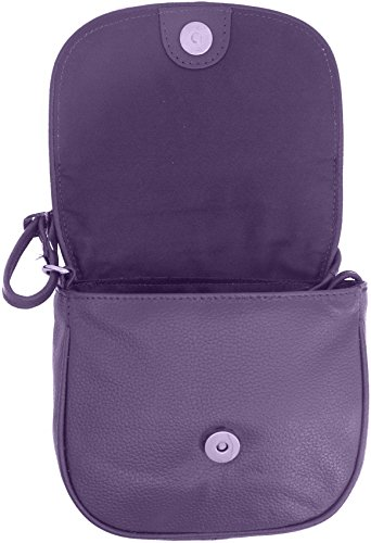 Flap Crossbody Purple Cowhide Leather With Bag Closure 5�� 7 Genuine 5�� 5 X vS47S