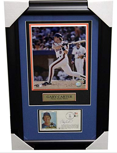 Gary Carter New York Mets Framed Autographed Signed First Day Cover Cachet With Photo and Nameplate - PSA/DNA Authentic