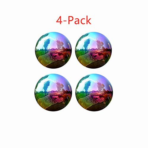 Gazing Globe, 4 Inch Rainbow Stainless Steel Mirror Ball Shiny Gazing Balls for Gardens and Patio Decoration