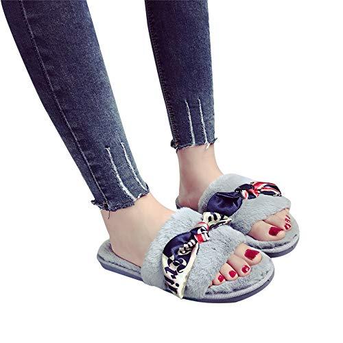 Slippers For Women,Clearance Sale !! Farjing Slip On Sliders Fluffy Faux Fur Flat Slippers Flip Flop Sandals(US:7.5,Gray)