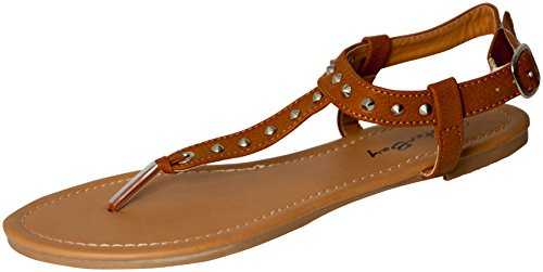 Womens Roman Gladiator Spike Studded T Strap Sandals Flats Shoes (6, Brown 2202) (Shoes Roman Sandals)