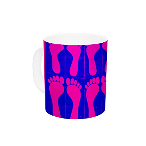 "Kess InHouse Sreetama Ray ""Footprints Purple"" Pink Blue Ceramic Coffee Mug, 11 oz, Multicolor"