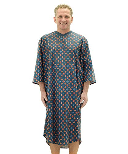 Silvert's Mens Flannel Open Back Adaptive Hospital Patient Gowns - - Nautical LGE (Flannel Hospital Gowns)