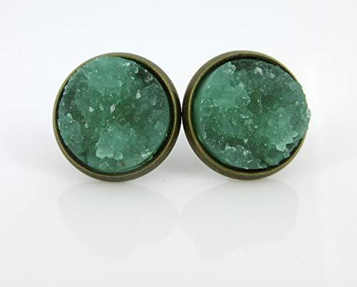 (Antiqued Gold-tone Mint Green Faux Druzy Stone Stud Earrings 12mm )