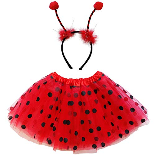 So Sydney Kids Teen Adult Plus 2-3 Pc Tutu Skirt, Ears, Tail Headband Costume Halloween Outfit (M (Kid Size), Ladybug Red & Black)