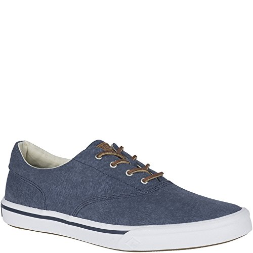 Navy Canvas Sneakers (Sperry Top-Sider Men's Striper II CVO Washed Sneaker, Navy, 8.5 Medium US)