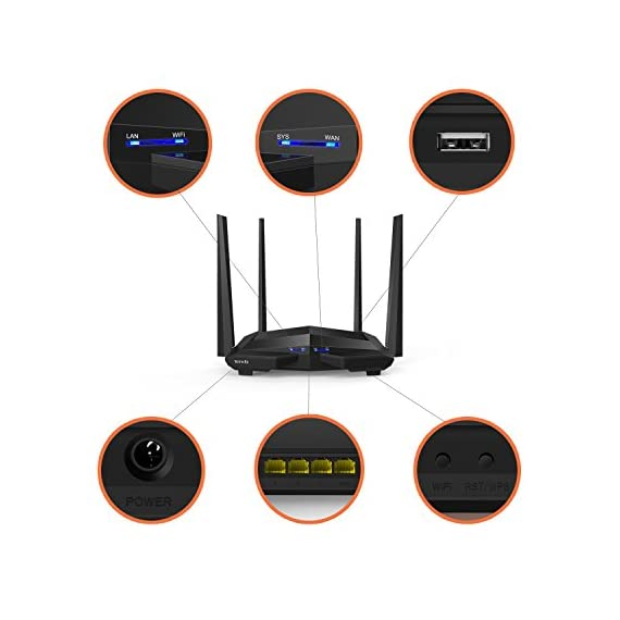 Tenda AC10U Smart Gigabit Wi-Fi Router AC1200 Dual Band w/Parental Control + MU-MIMO + Smart WiFi App Management + USB Port 5 Stream in 4K on multiple devices and get lightning-quick connections by upgrading to Tenda's enhanced 1200 Mbps high speed Wi-fi technology (300mbps@2. 4GHz +867Mbps@5GHz) Link up to 30 wireless devices like the Google assistant, Alexa and various steaming devices, simultaneously, while maintaining optimum network conditions 4 omni-directional antennas with beamforming and Mu-Mimo technology, deliver high-speed internet throughout your home and provide seamless coverage for up to 2000 Sq. ft