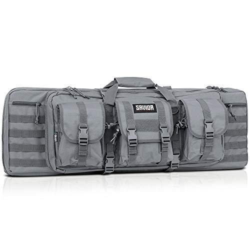 Savior Equipment American Classic Tactical Double Long Rifle Pistol Gun Bag Firearm Transportation Case w/Backpack - 36 Inch Ash Gray