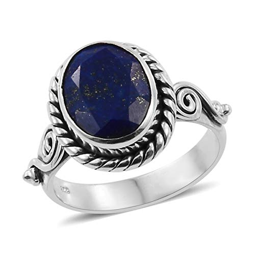 925 Sterling Silver Oval Lapis Lazuli Oxidized Statement Ring for Women Handmade Jewelry Gift Size 11 Cttw 2