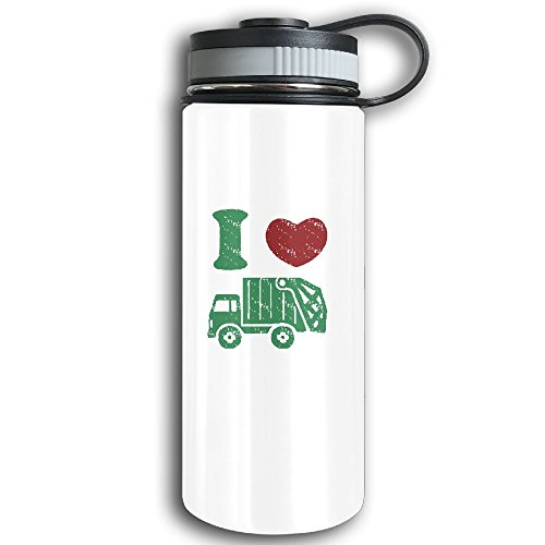 Stainless Steel Sports Water Bottle, Double Wall Vacuum Insulated I Heart Love Trash Garbage Trucks Flask Bottle – Leak & Sweat Proof Flask - Cold/Hot Drinks For 12 Hours (R2d2 Trash Can Costume)