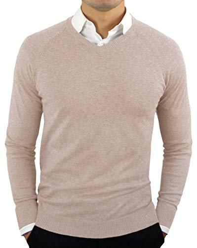 Sweater Beige Cashmere (Comfortably Collared Men's Perfect Slim Fit Lightweight Soft Fitted V-Neck Pullover Sweater, Large, Oatmeal Beige)