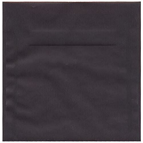 (JAM PAPER 6.5 x 6.5 Square Translucent Vellum Envelopes - Charcoal Grey - Bulk 1000/Carton)