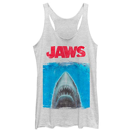 Jaws Women's Shark Movie Poster White Heather Racerback Tank Top