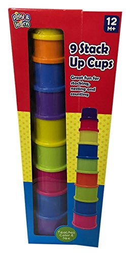 STACK UP Cups Play Set is Ideal for Stacking, Nesting and Counting, 9 Piece (Nine Stack)
