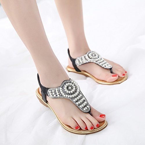 Rhinestone Thong Flops Flat Bohemian 01 Meeshine Strap Womens T Summer Flip On Slip Sandals Black Shoes wqqg87