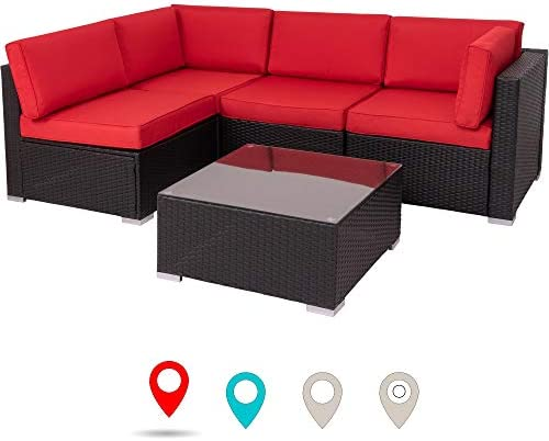 Walsunny Outdoor Black Rattan Sectional Sofa- Patio Wicker Furniture Set Conversation Sets with Tea Table Washable Couch Cushions Red