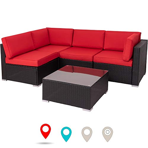 Walsunny Outdoor Black Rattan Sectional Sofa- Patio Wicker Furniture Set Conversation Sets with Tea Table&Washable Couch Cushions (Red) (Living Room Furniture Sets Red)