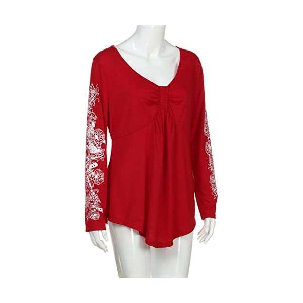 Plus Size Deep V Neck Sexy Blouse Floral Long Sleeve