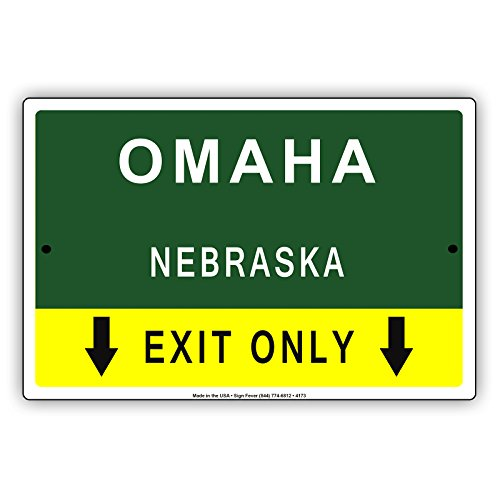 Omaha Nebraska Exit Only With Pointer Arrow Direction Way Road Signs Alert Caution Warning Aluminum Metal Tin 12