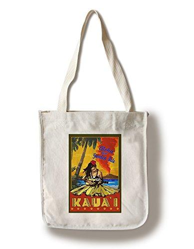 Lantern Press Hula Girl and Ukulele - Kauai, Hawaii (100% Cotton Tote Bag - Reusable) -