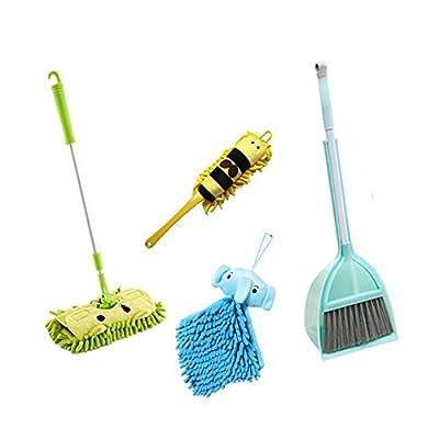 Xifan Kid's Housekeeping Cleaning Tools Set-5pcs,Include Mop,Broom,Dust-pan,Brush,Towel,Mommy's Little Helper!