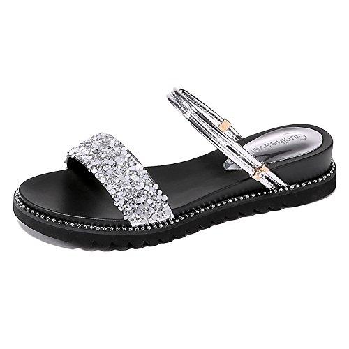 KJJDE Mujer Sandalias De Cuña Verano JZTC-8987 Rhinestone Metal De Moda Sandalias Y Chanclas 3.7CM Silver