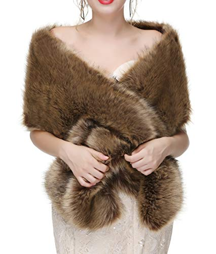 Decahome Faux Fur Shawl Wrap Stole Shrug Winter Bridal Wedding Cover Up Brown Raccoon Fur