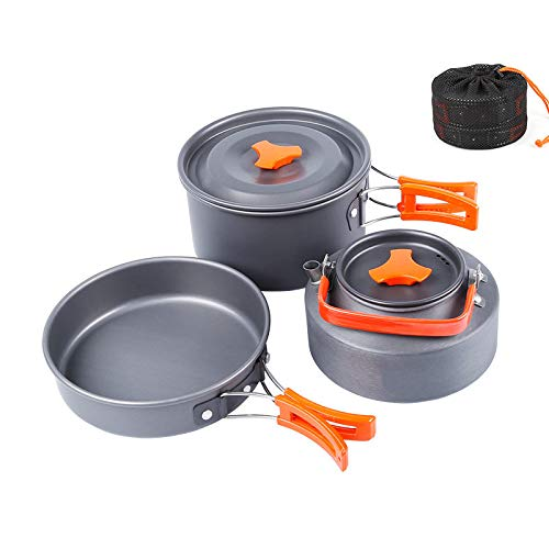 WindFire Camping Cookware Backpacking Gear Outdoor Cooking Mess Kit 3 Pieces Portable Lightweight Pot Pan Tea Kettle Cooking Equipment for Outdoor Hiking, Picnic, Trekking by WindFire