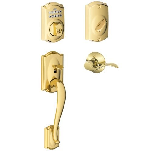Schlage FE365-CAM-ACC-LH Left Handed Camelot Electronic Handleset with Accent Le, Lifetime Polished Brass - Lifetime Polished Brass Accents