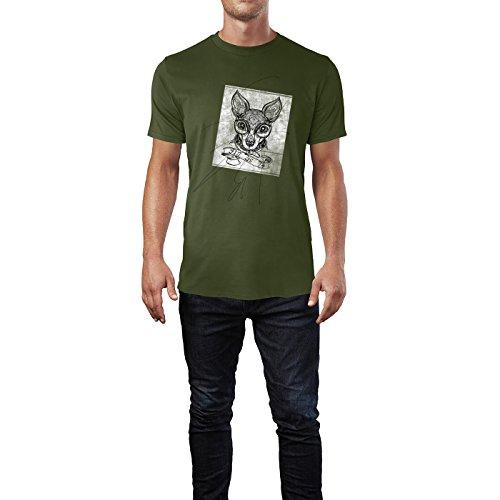 SINUS ART® Hundekopf mit Ornamenten schwarz Herren T-Shirts in Armee Grün Fun Shirt mit tollen Aufdruck