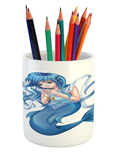 Girl Sign Holding - Lunarable Zodiac Pisces Pencil Pen Holder, Manga Style Illustration of Blue Haired Mermaid Girl Holding a Zodiac Sign, Printed Ceramic Pencil Pen Holder for Desk Office Accessory, Multicolor