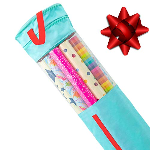 """Clutter Armour Wrapping Paper Storage - Gift Wrap Organizer That Fits 40"""" Rolls with Section for Storing Ribbons & Bows, Gift Tags & Tape - Best for Keeping All Your Gift Wrapping Supplies Organized"""