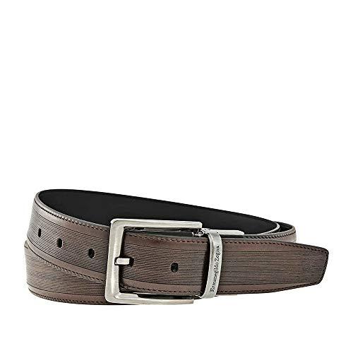 Ermenegildo Zegna XL Reversible Calfskin and Printed Leather Belt - Brown/Black (Zegna Calfskin Belt)