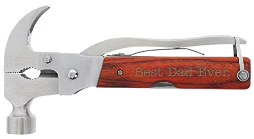 Fathers Day Gifts for Dad Best Dad Ever Laser Engraved 12-in-1 Hammer Multitool Camping Survival Hammer Multi Tool