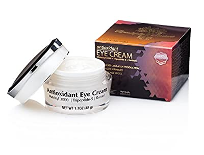 Beautifully Radiant's Antioxidant Eye Cream- For Erasing Fine Lines and Wrinkles, Smoothing Crows Feet, Brightening Black/ Dark Circles, and Reducing Puffiness. Good for Day/ Night- 1.7OZ (48g)