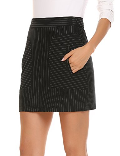 ANGVNS Women's Cotton Striped Patchwork Stretchy Mini Pencil (Slant Pockets Skirt)