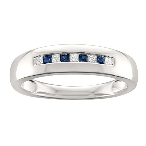 La4ve Diamonds 14k White Gold Princess-Cut Diamond & Blue Sapphire Men's Wedding Band Ring (1/4 cttw, I-J, I2), Size 11 (Blue Mens Wedding Band Diamond)