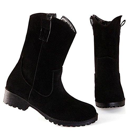 Short Heel RAZAMAZA Women Boots Casual Low Black 4wHUT
