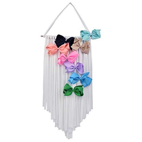 Hixixi White Sharp Corners Hair Bow Holder Hair Clips Hanger Headband Hair Bow Storage Organizer Boho Wall Hanging Decor for Girls Room (white-A#)