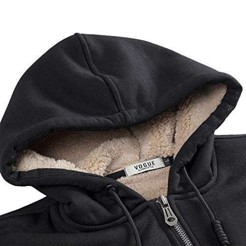 Real Spark Men's Winter Fleece Hoodie Jacket & Jog Pants Set Casual Running Tracksuit Black M by Real Spark (Image #2)