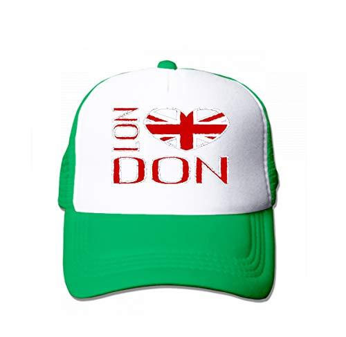 Snapback Hat Sandwich Peaked Cap Durable Baseball Cap Hats Adjustable Peaked Trucker Cap London City Typography British Flag Fashion Printing Design SPO Green -