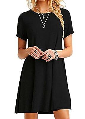 Bestisun Women's Casual Short Sleeve Simple Loose T-Shirt Dress