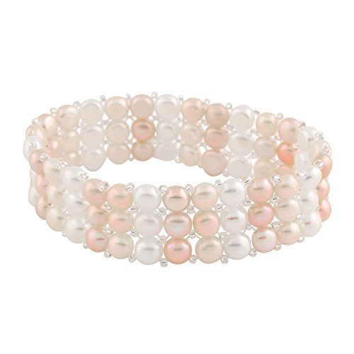 Cultured Pearl Row Freshwater 3 (3-Row Handpicked Multicolor 6.5-7mm Freshwater Cultured Pearls Elastic Stretch Gatsby Flapper Style Bracelet)
