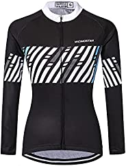 JPOJPO Cycling Jersey Women's Long Sleeve Bike Shirts Bicycle Jacket with 3-Pockets Quick Dry