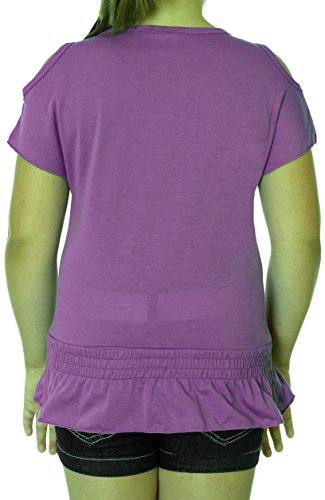 Girl's Summertime Peace & Love Open Shoulder Shirt in Blue and Purple (7/8, Purple) by S.W.A.K. (Image #1)